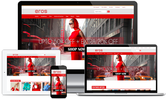 Reponsive eCommerce design illustration: Magento Eros template